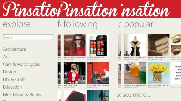 Capturas de Pinsation, el cliente de Pinterest para Windows Phone