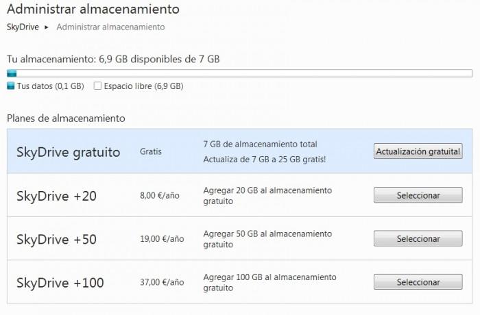 Debes actualizar manualmente tu cuenta de SkyDrive para mantener los 25 GB de almacenamiento