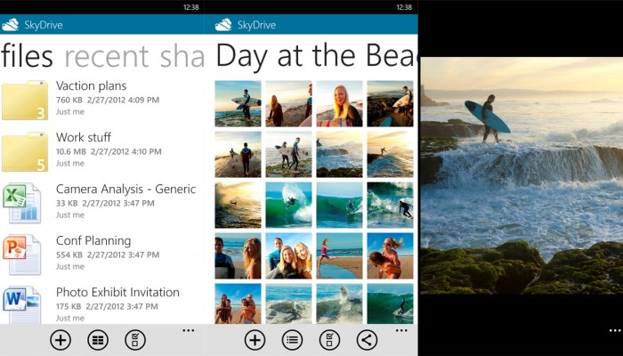 Versión de 2 de SkyDrive para Windows Phone