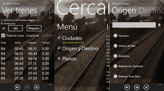 App de RENFE para Windows Phone