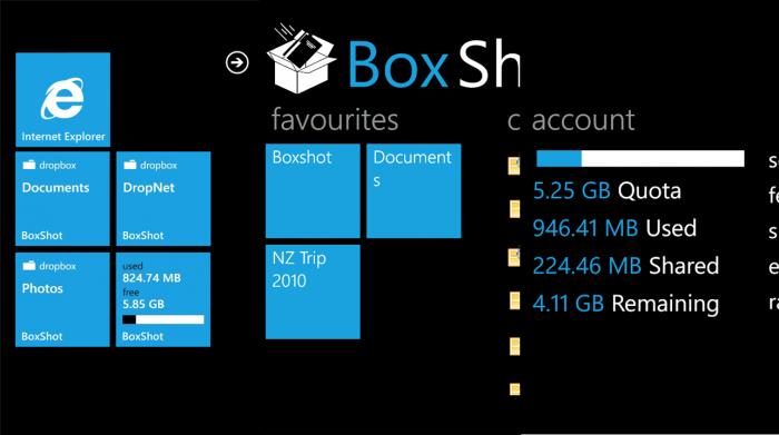 BoxShot cliente de Dropbox