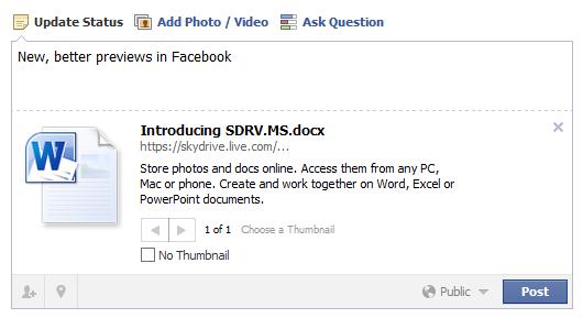 Enlace corto de SkyDrive en Facebook