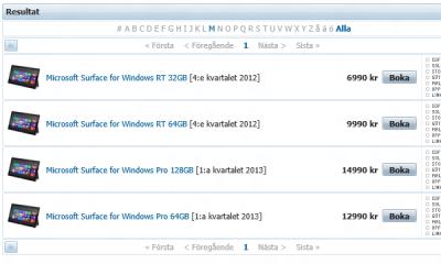 Lista de precios Microsoft Surface