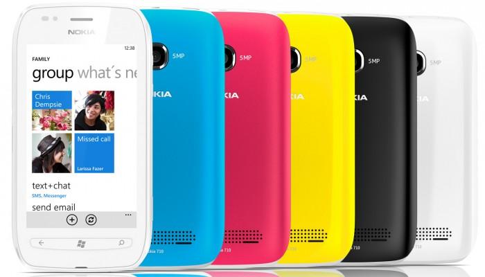 Imagen del Nokia Lumia 710 en distintos colores