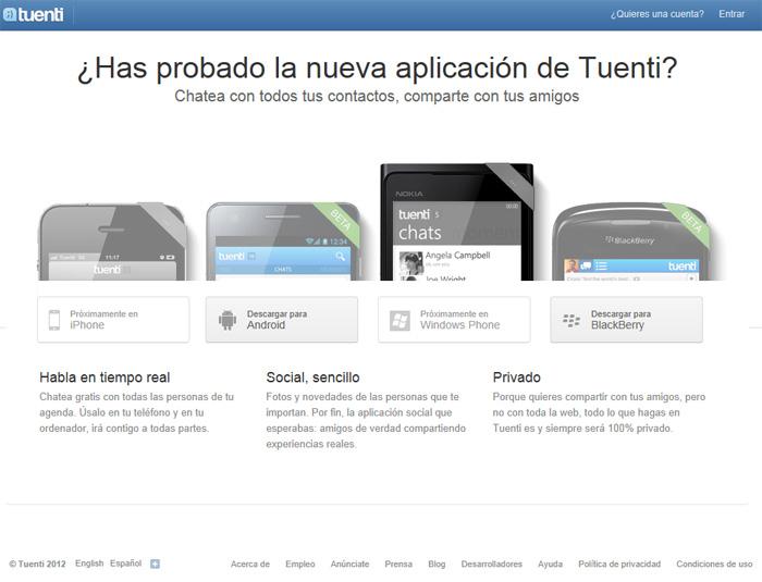 Captura de pantalla con las aplicaciones móviles de Tuenti