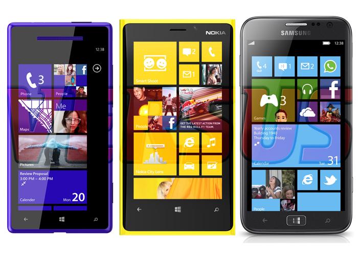 Tabla comparativa del Nokia, HTC y Samsung con Windows Phone 8