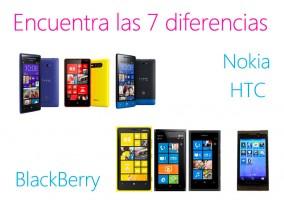 Encuentra las 7 diferencias entre estos terminales de HTC, Nokia y BlackBerry