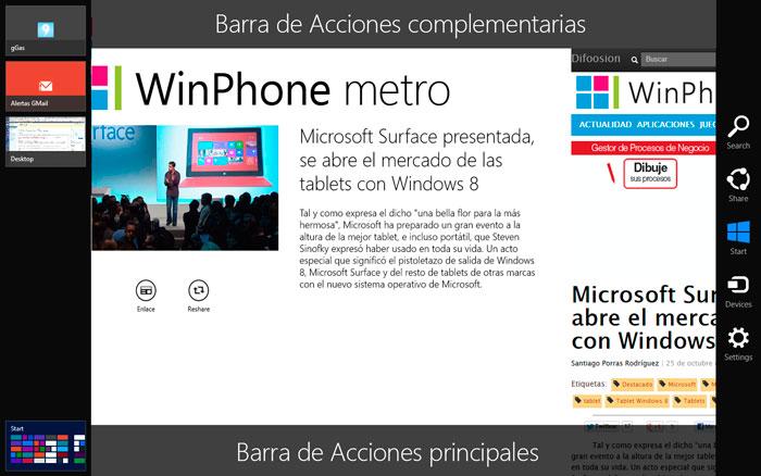 Windows 8 | Barras de herramientas