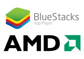 BlueStacks y AMD logos
