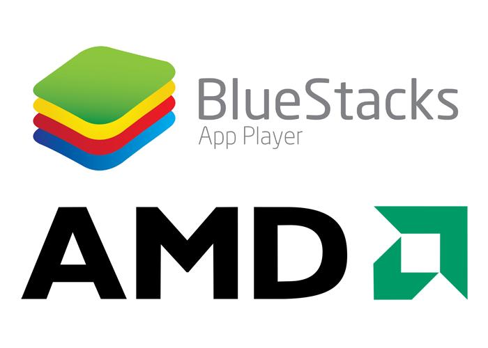 BlueStacks y AMD logos