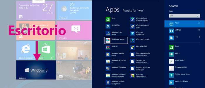 Windows 8 | Vista de inicio, escritorio, búsqueda