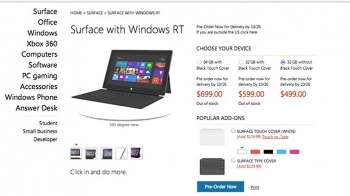 Precio de la tablet Surface RT