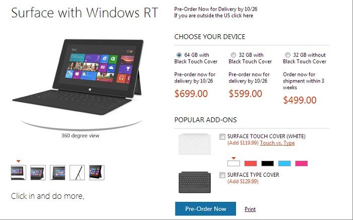 Reservas de Microsoft Surface