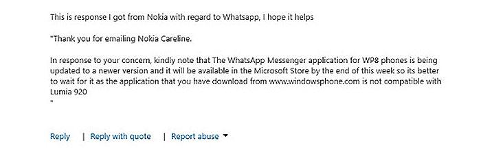 Respuesta de Nokia Care sobre WhatsApp vía Twitter