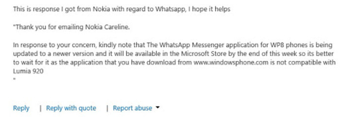 Respuesta Nokia WhatsApp