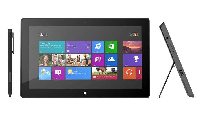 Vista frontal y lateral de Microsoft Surface Pro