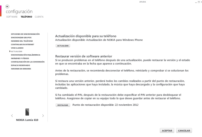 lumia 610 actualizacion disponible