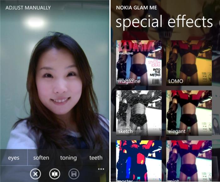 Nokia Glam Me efectos