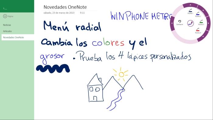 OneNote nuevo menu lápiz