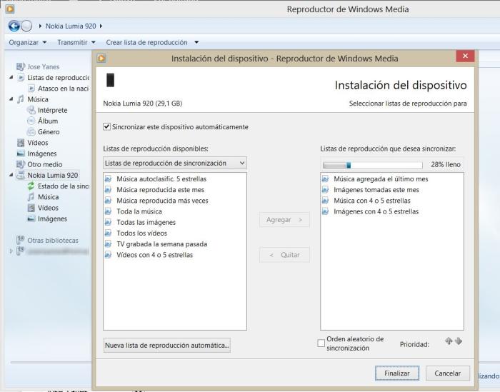 Sincronizacion con Windows Media