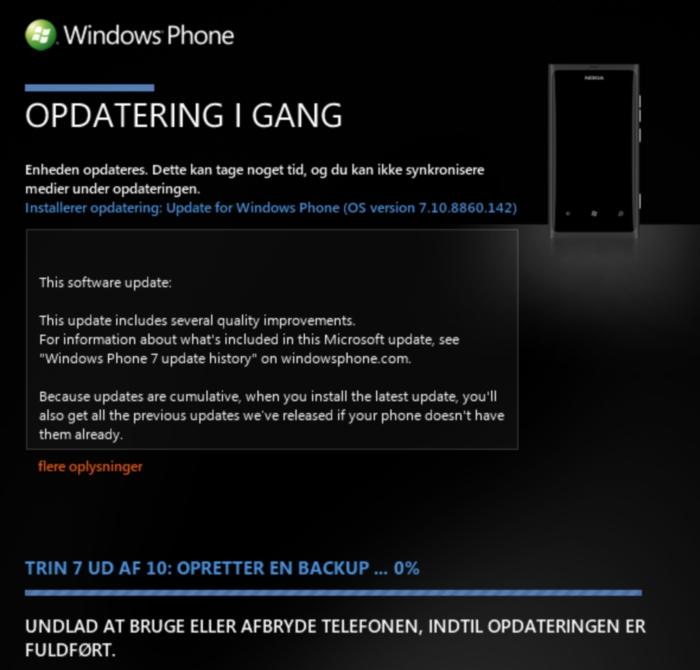 actualizacion windows phone 7.8 solución problemas