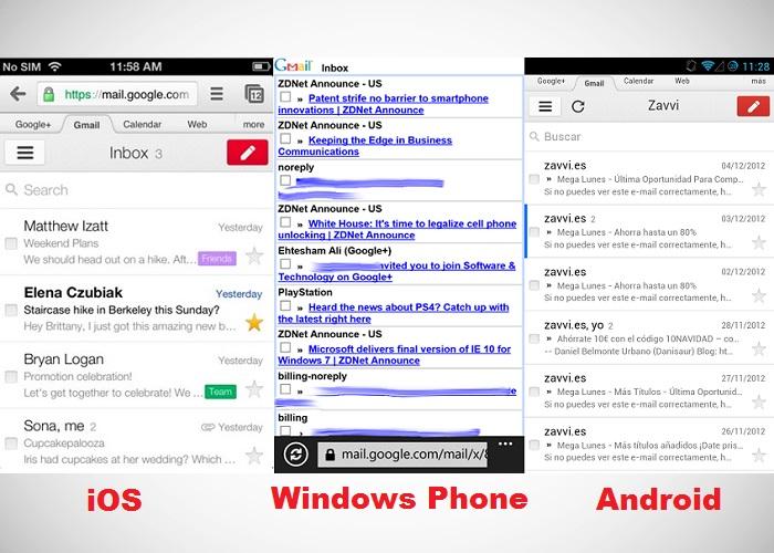 Comparativa de las versiones web de Gmail