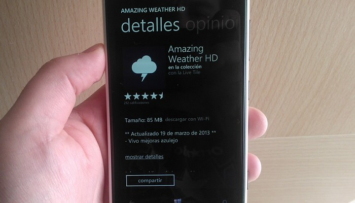 Amazing Weather HD para Windows Phone