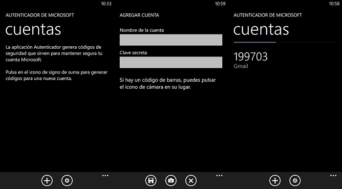Capturas de Microsoft Autenticador