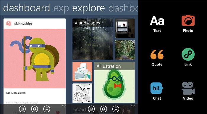 Capturas de pantalla de Tumblr para Windows Phone