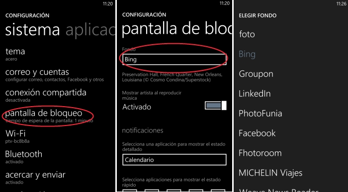 configurar fondo windows phone