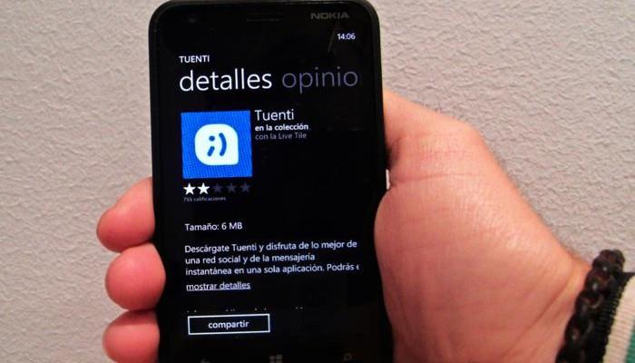 Aplicación de la red social española para Windows Phone