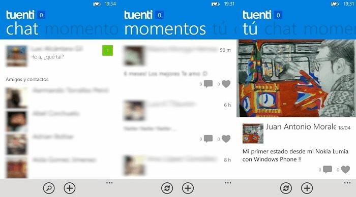 Capturas de Tuenti para Windows Phone