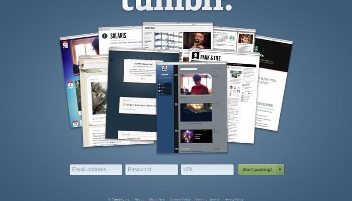 Pantalla principal de Tumblr