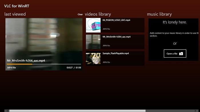 Captura del explorador de VLC con interfaz Metro