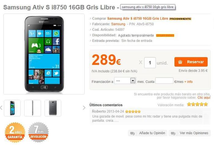 Precio Samsung ATIV S