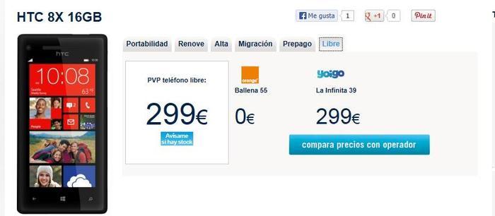 Precio Windows Phone 8X by HTC