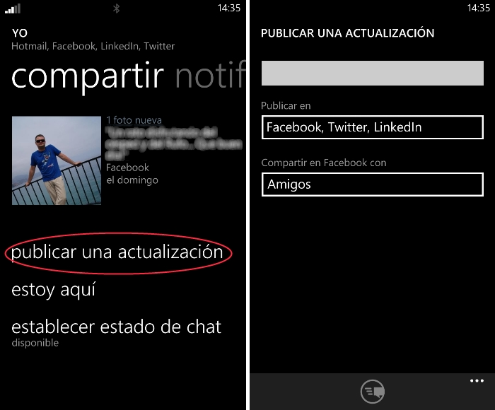 Publicacion mensaje windows phone