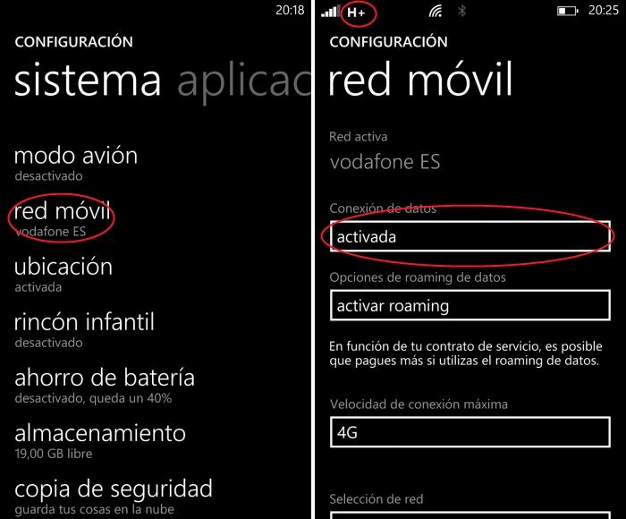 Conexión de Internet móvil en Windows Phone