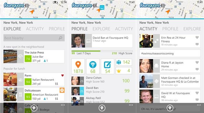 Rediseño de Foursquare para Windows Phone 8