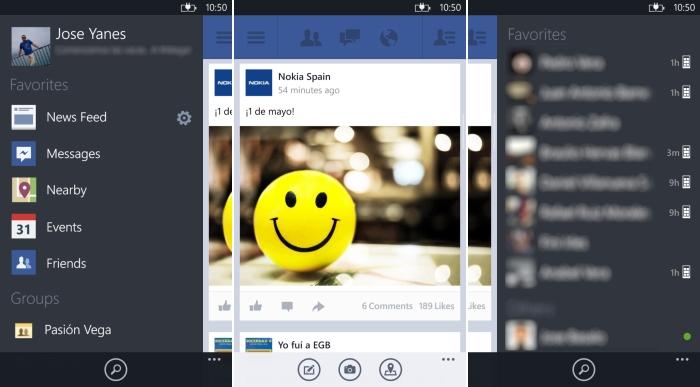 windows phone facebook beta menu
