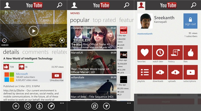 YouTube para Windows Phone 8