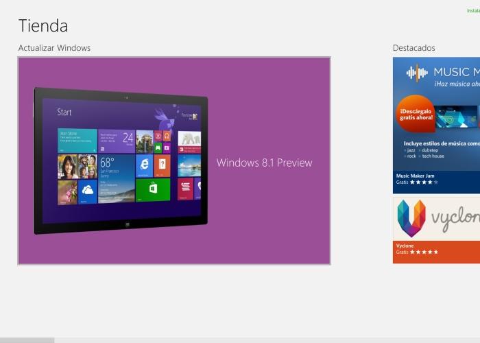 Primera pantalla descarga Windows 8.1