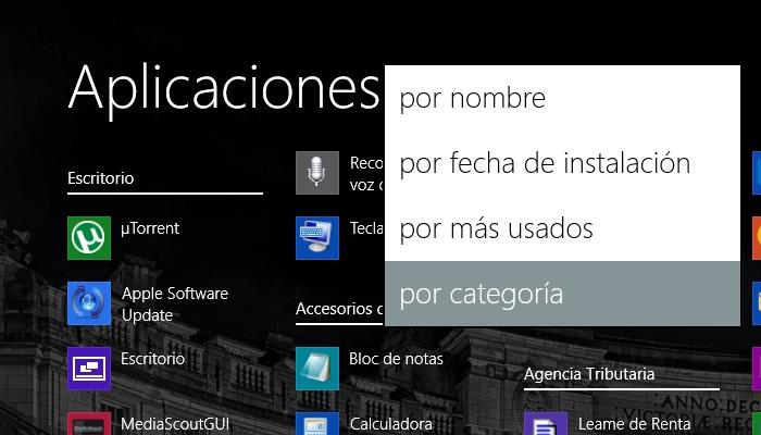 formas de agrupar todas las aplicaciones windows 8 1