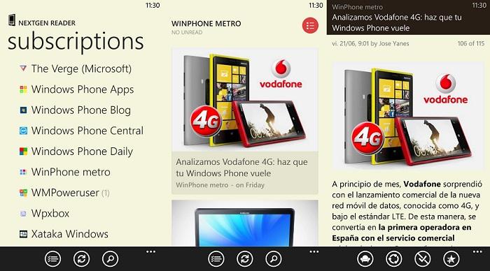 Nextgen Reader para Windows Phone 8