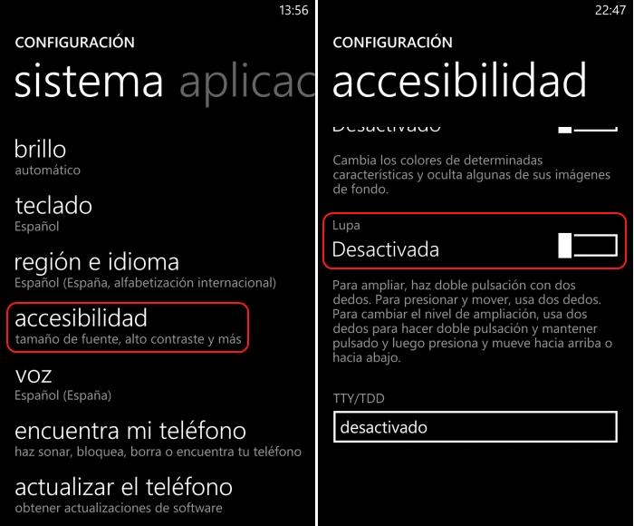 activar lupa windows phone 8