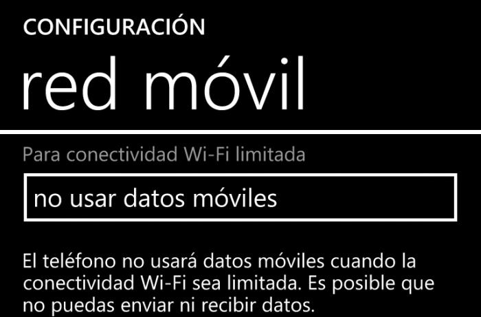 conectividad red movil cuando Wi-Fi limitado