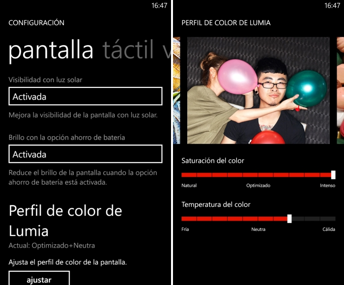 configuracion color nokia lumia 925