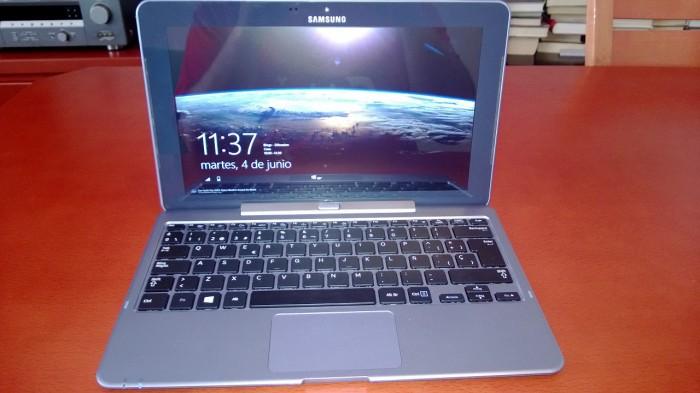 La tablet de Samsung en su modo netbook