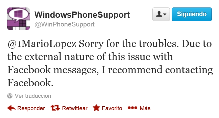 twitter problemas chat facebook windows phone