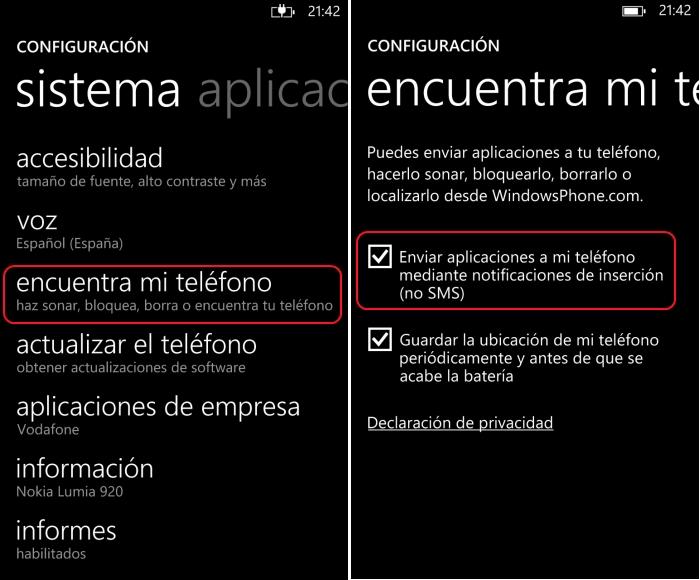 configuracion notificaciones insercion windows phone metro